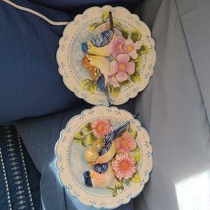 Pair of vintage Ganz 3D bird plates